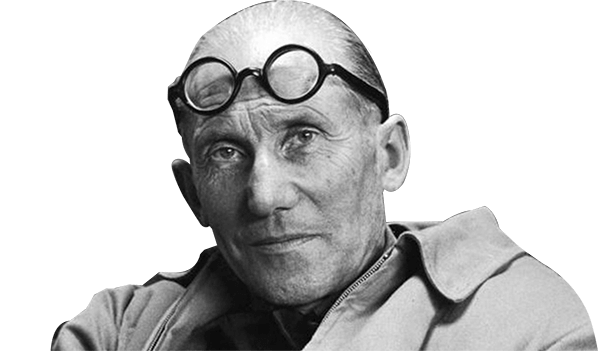 Black and white photograph of Le Corbusier.