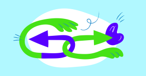 Illustration of two arrows, symbolizing undo and redo buttons in Setka Editor.