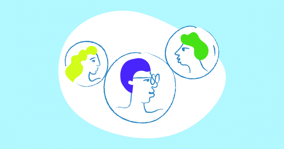 Illustration of three heads, symbolizing content collaboration and the Setka Editor Pro Team Plan.