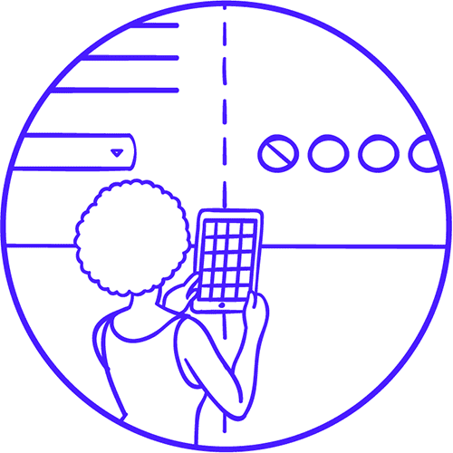 Illustration of a woman with phone