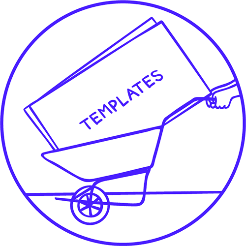 Illustration of truck with templates