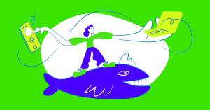 Illustration of person standing on a whale with a laptop in one hand and a phone in the other.