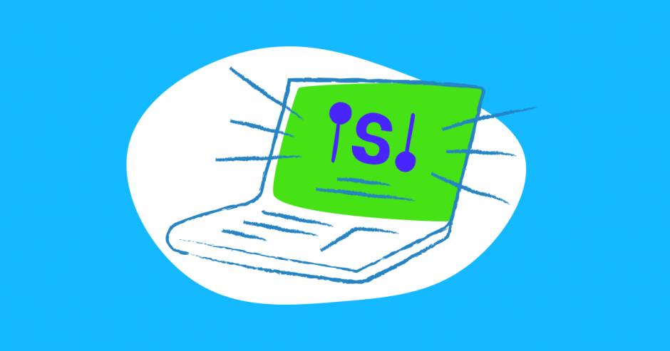 Illustration of laptop with the letter S on the screen.