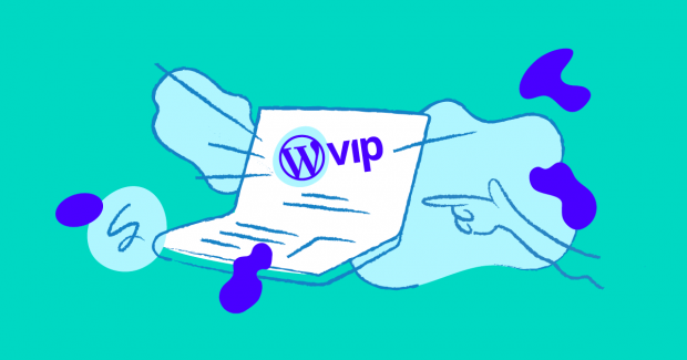 Illustration of finger pointing at laptop with the WP logo and the letter VIP.