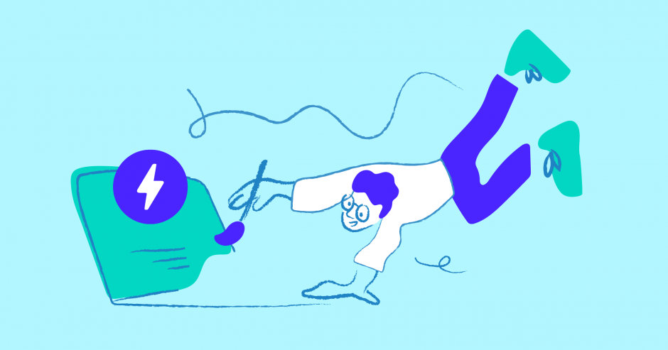 Illustration of person floating in the air while painting a laptop.