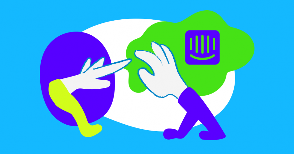Illustration of two hands and the intercom logo, symbolizing customer support via live chat in the Setka Editor.