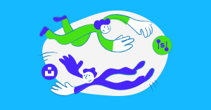 Illustration of two people floating in space playing with the logos of Setka and Unsplash, symbolizing the integration.