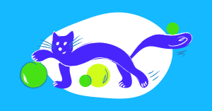 Illustration of cat playing with balls.