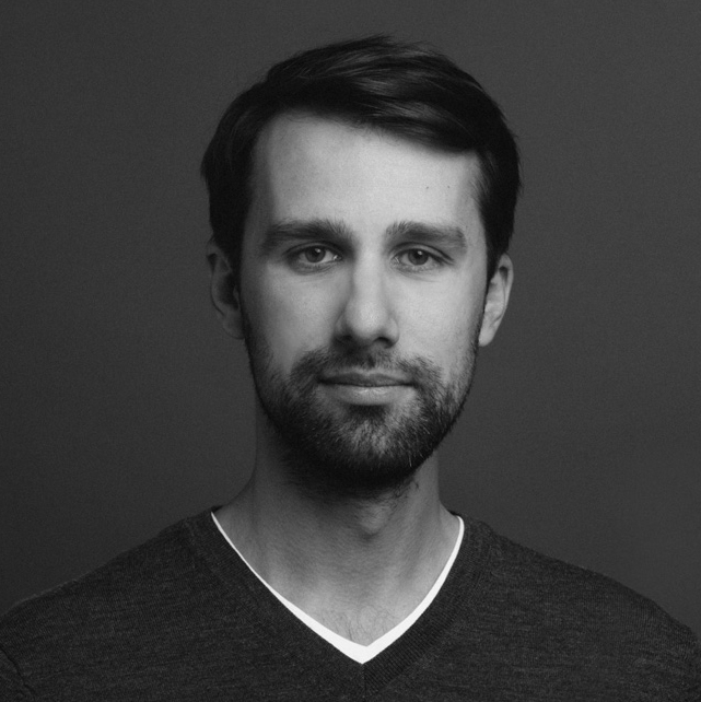 Black and white photo of Eugene Evgrafov, Art Director at PIK Media