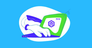 A visual representation of a hand typing a laptop keyboard. The Magento logo appears on the laptop screen.