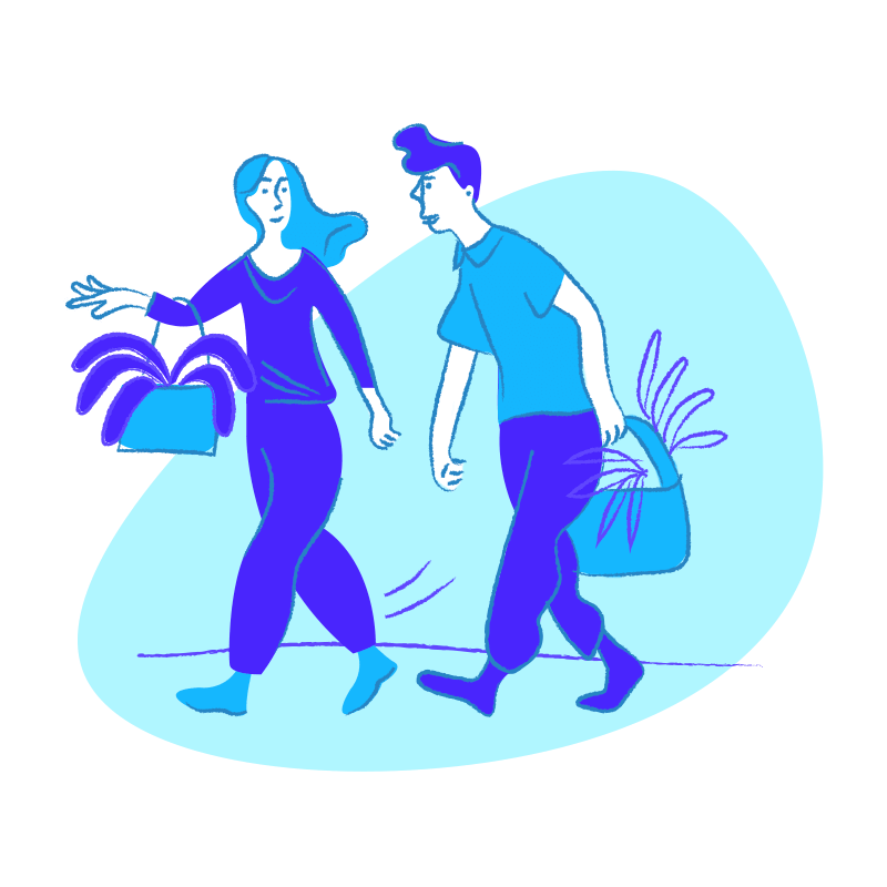 A visual representation of a man and woman carrying shopping bags.