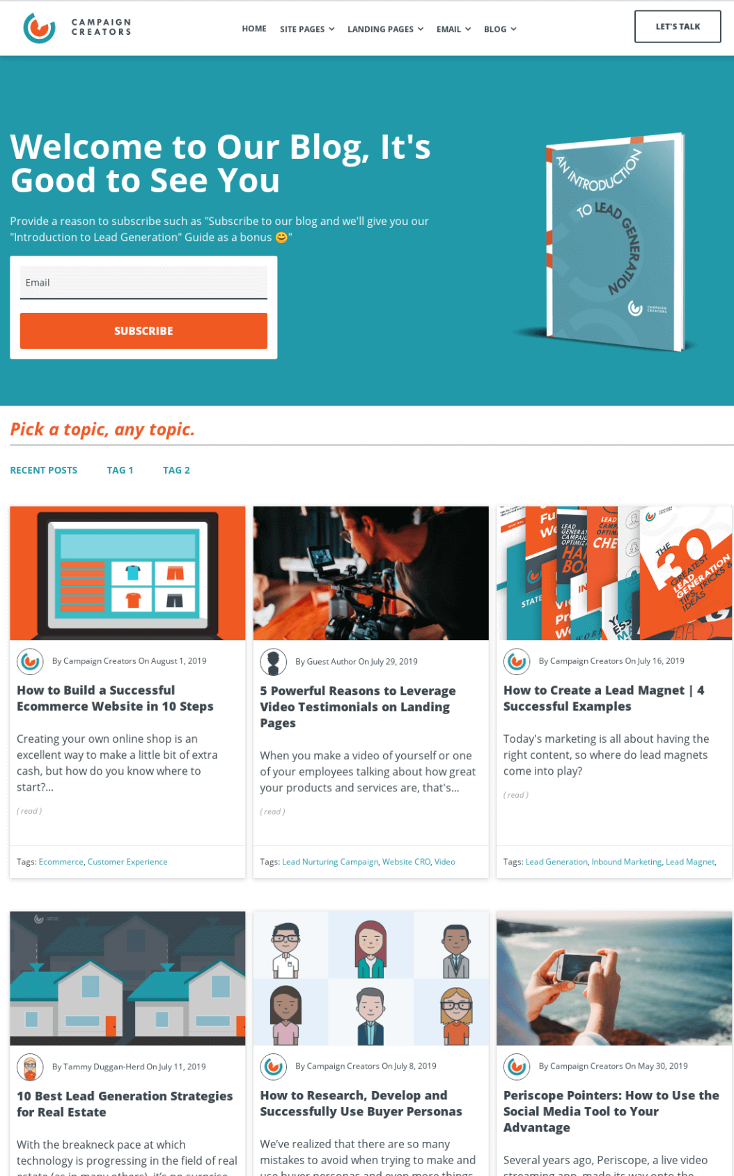 Hubspot blog templates with interactive blog design elements for optimal visual storytelling and content UX.