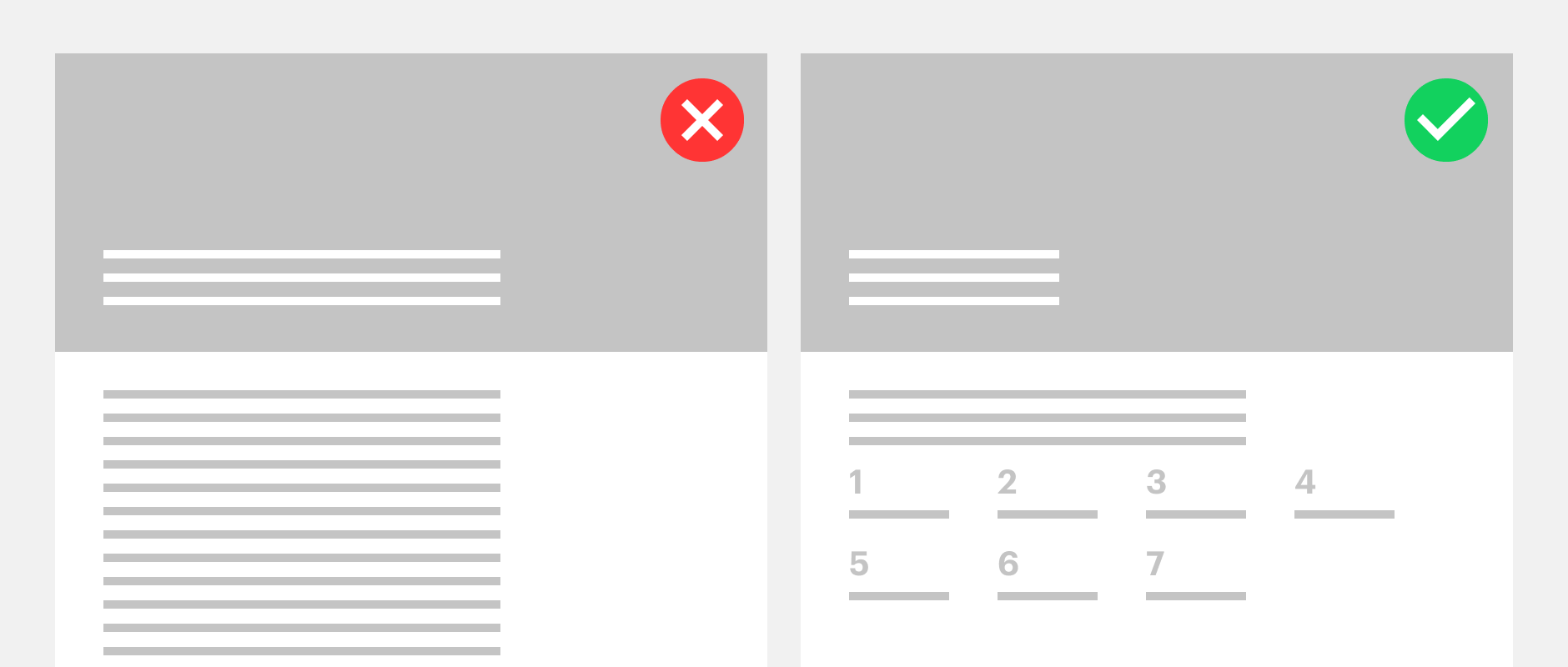 One webpage with plain text compared to a webpage with a clear table of contents showing the impact of good content design.