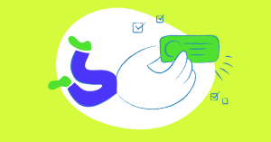 Illustration symbolizing content design and content branding, depicting a hand with legs, holding a message.
