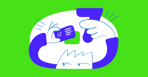 Person with a number in one hand and a letter in the other, symbolizing content design and content UX.