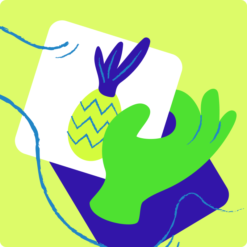A cartoon image of a hand holding a card with a picture of a pineapple on it.