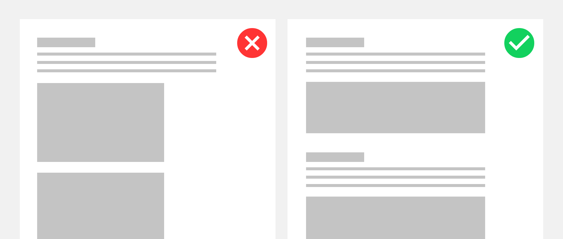 One website with a page-wide header and one with a smaller header to showcase the importance of content design.