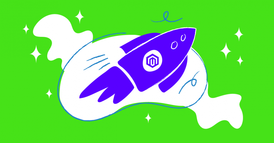 Illustration of blue rocket against green background.