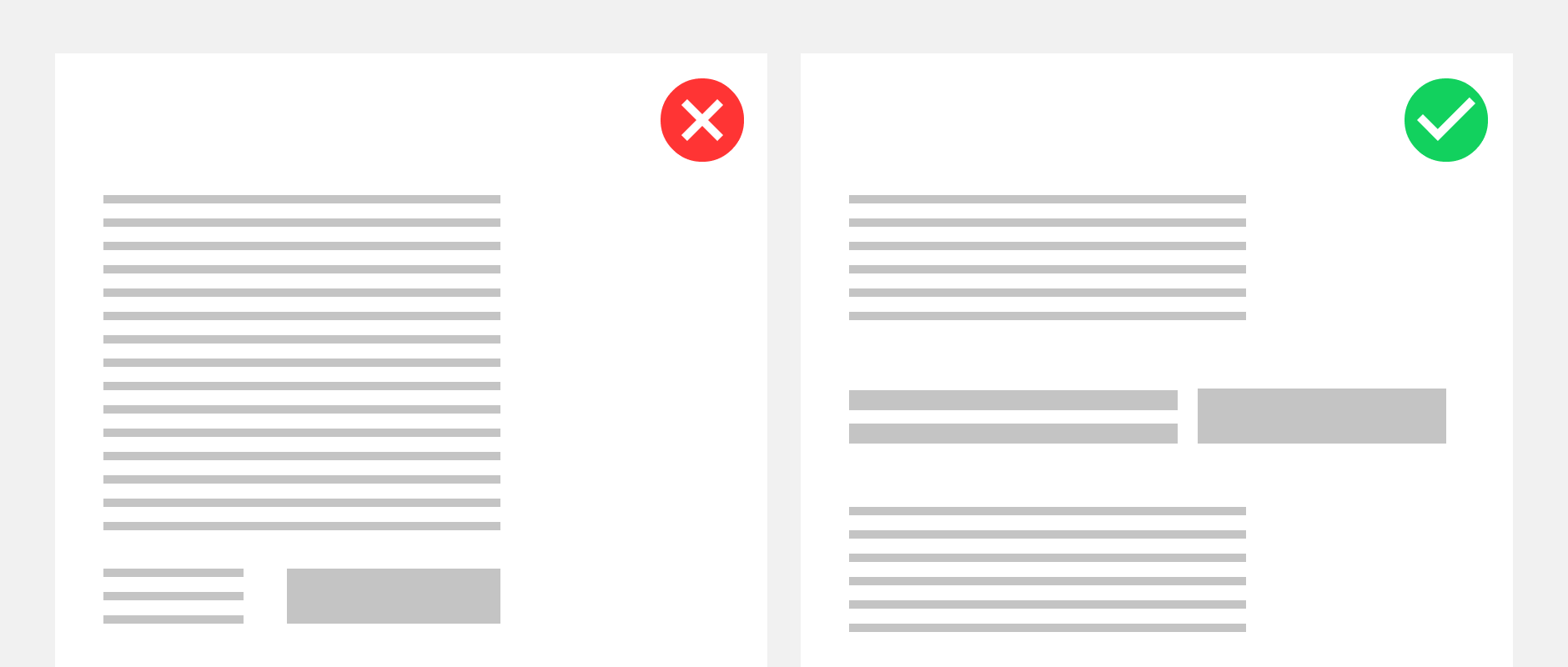 One webpage with only text and one with a clear CTA illustrating the importance of content design for content engagement.