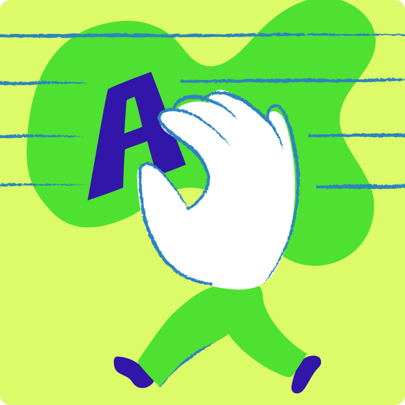 A cartoon image of a hand positioning the letter 'A' on a layout.