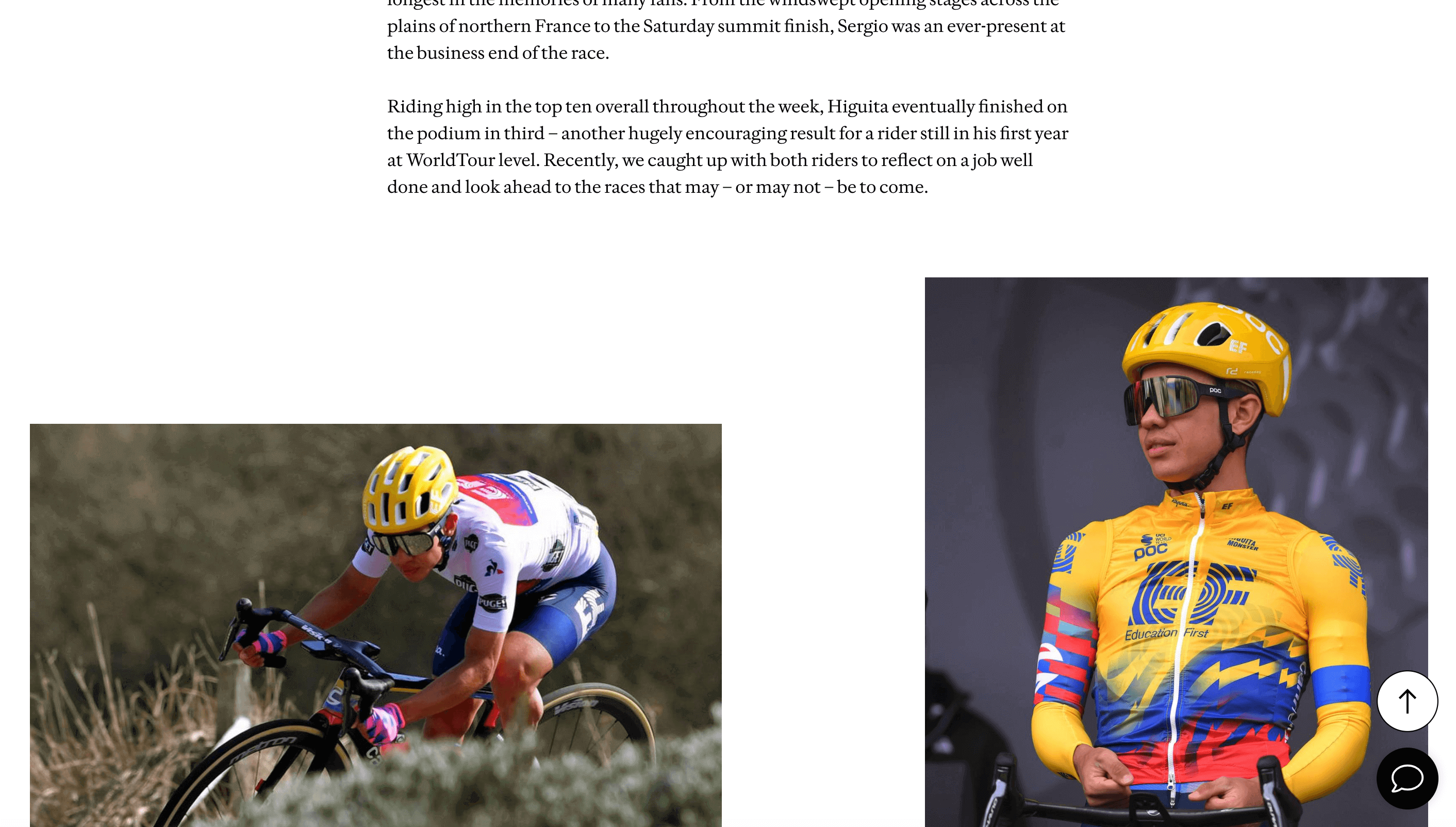 Photo collage of two cyclists, showing how excellent content design enhances the content experience.