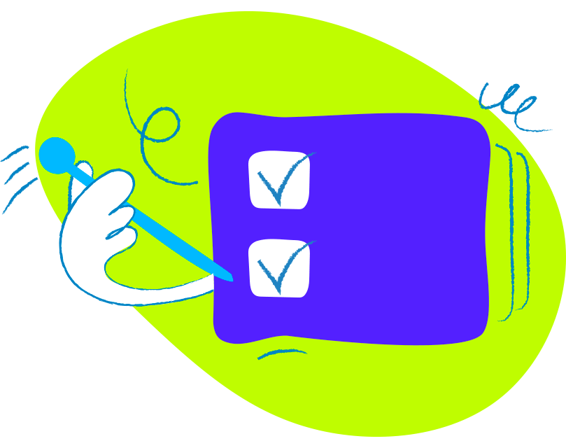 Illustration of hand with a pen filling the check boxes