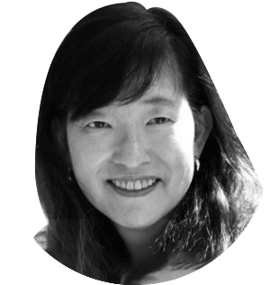 Black and white photo of Lisa Oda, former Content Director at Upwork