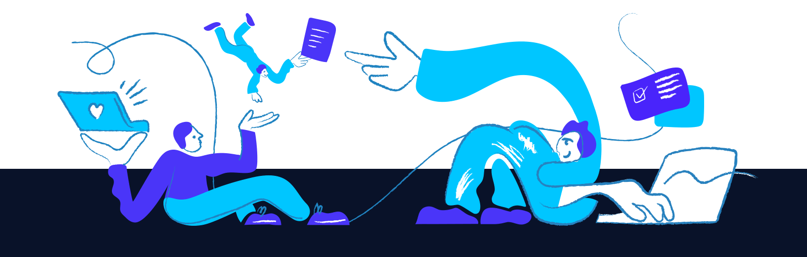 Illustration of two people working on laptops, symbolizing remote collaboration.