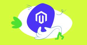 Abstract illustration of a hand holding the Magento logo
