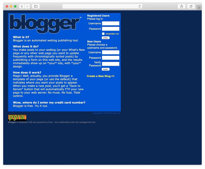 Screenshot of an old-style blog webpage