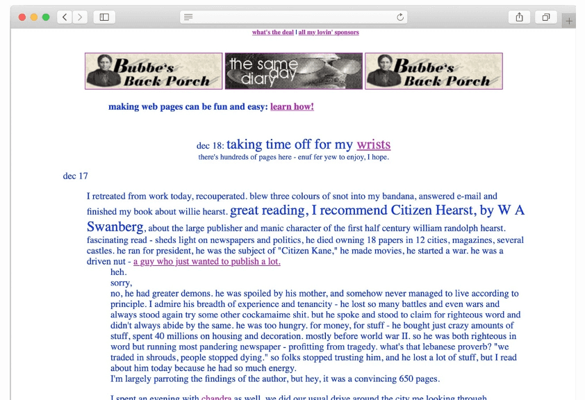 Screenshot of an old-style webpage